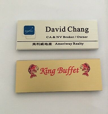 """Customized Name Badge / Tag with Magnet 3""""X1 1/8"""" - Full Color Logo"""