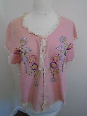 Antique Victorian Hand Embroidered Linen Night Robe Color pink embroidered