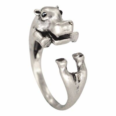 Adorable Antique Silver Hippo Wrap Ring with Velvet Bag