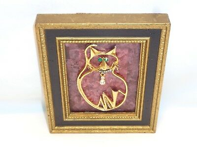 VTG CAT PICTURE Mcm Wall Hanging Art Brass / Metal Rhinestone Flashy Mod Kitty