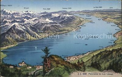 12458777 Lac Leman Genfersee Panoramakarte Genf
