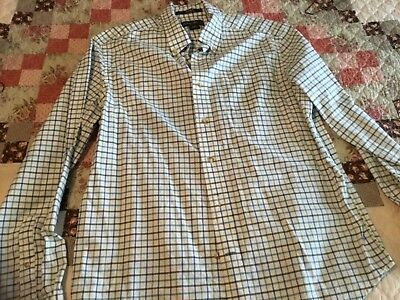 EDDIE BAUER Size Large Men Relaxed Fit Long Sleeve No Iron Cotton Shirt
