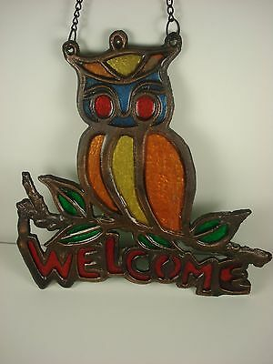 Vintage Owl welcome sign cast iron with bronze finish original chain garden BIG