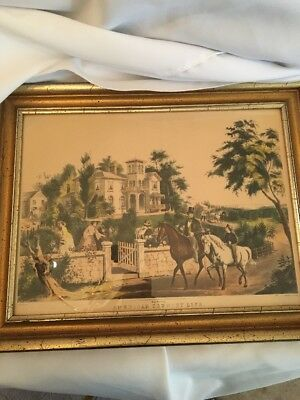 Currier and Ives Lithograph 14''X 10 1/4'' May Morning American Co. Life framed