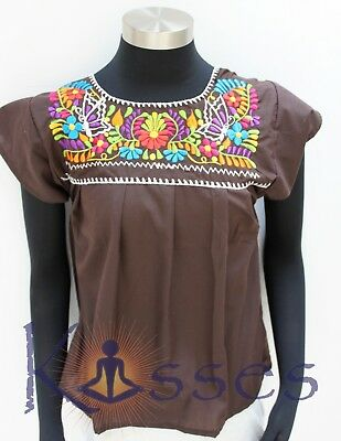 Mexican Peasant Blouse Hand Embroidered Top Colors Vintage Style Tunic DrkBrn
