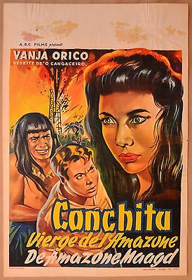 MACUMBA, 1956 Belgian poster, artwork of Vanja Orico, oil well explosion!