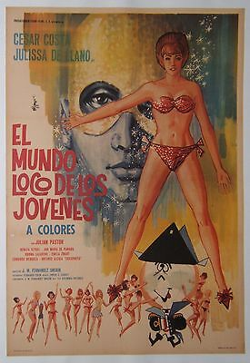 EL MUNDO LOCO DE LOS JOVENES-1967, Mexican movie poster, linen-backed
