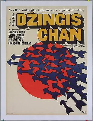 Genghis Khan 1965, Omar Sharif, Stephen Boyd, Polish movie poster, Linen-backed