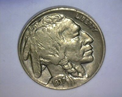 "1937 Buffalo Nickel  ""A/U ++""  ""FULL SHARP HORN"" SPLIT TAIL... NICE ! US  COIN"