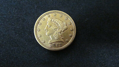 1853 $2 1/2 Liberty Head Gold Coin Quarter Eagle Nice