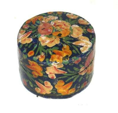Antique Trinket Small Jewelry Lacquer Hand Painted Floral Oval Box