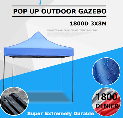 1800 Denier Blue Pop Up Outdoor Gazebo Folding Tent Party Marquee Shade Canopy