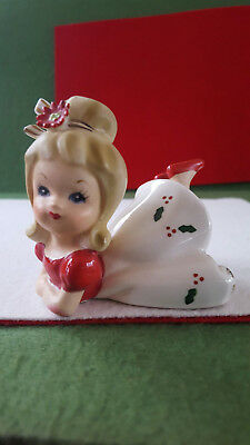 NAPCOWARE Vintage Christmas Young Girl Figurine*RARE*Folded Arms Version legs up