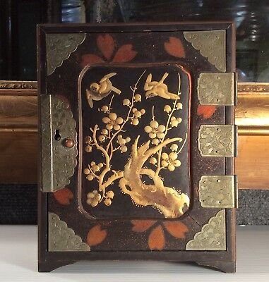 Antique Japanese lacquer with raised gold decoration chest/box