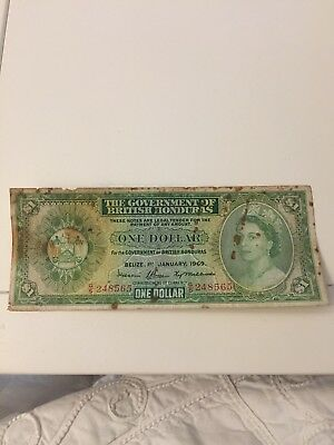1969 Government Of British Honduras One  Dollar Note.