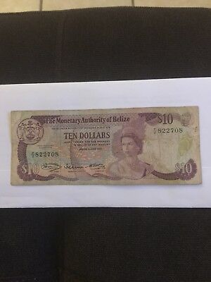 THE MONETARY AUTHORITY Of BELIZE TEN DOLLARS NOTE 1980