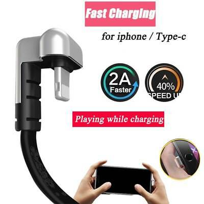 180 degree elbow charger data cable zinc alloy fast charging line adapter