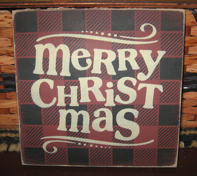 Primitive Country Merry Christmas Sm Sq Sign~ Plaid
