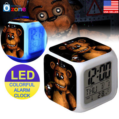 Five Nights At Freddy's 7 Color LED Alarm Clock Kids Toy Gift