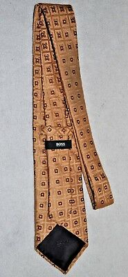 Hugo Boss Men's Tie 100% Silk Gold with Brown Square Pattern