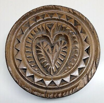 Antique HEART Motif BUTTER PRINT~Mold~Stamp~HAND CARVED WOOD~Pennsylvania~1800s