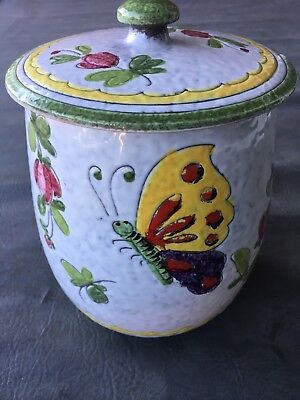 Vintage Jay Willfred of NY Made In Italy Butterfly Canister Cookie Jar