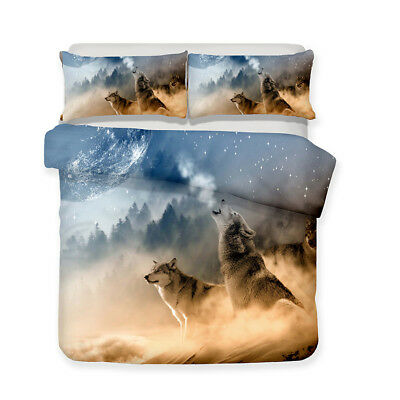 3D Dream Forest Wolf Howling Duvet Cover Bedding Set Pillowcase Quilt Cover Set
