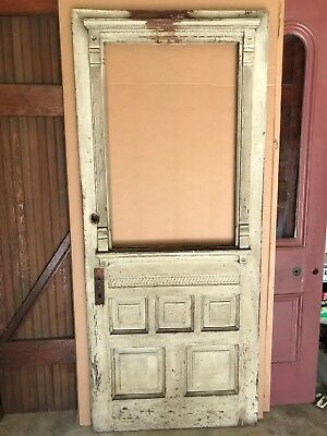 RARE ANTIQUE SHABBY PAINTED EASTLAKE VICTORIAN FARM ENTRANCE DOOR 34 x 79 3/4""