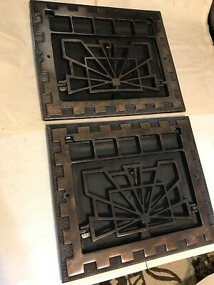 2 Antique Arts Craft Deco Brass Plated Cast Iron Wall Heat Grate Register