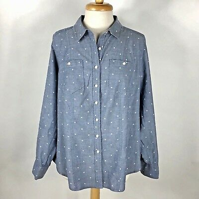 Lane Bryant Womens Size 16 Button Front Top Polka Dot Chambray Blue Cotton