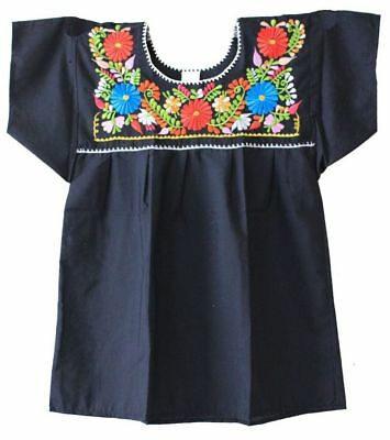 Mexican Peasant Blouse Hand Embroidered Top Colors Vintage Style Tunic Black
