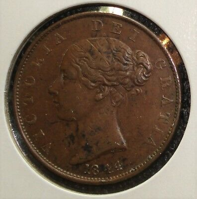 1844 British Half Penny with Nice Detail