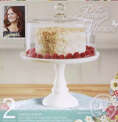 "Pioneer Woman Timeless 10"" Cake Plate Stand Set with Glass Dome Cover"
