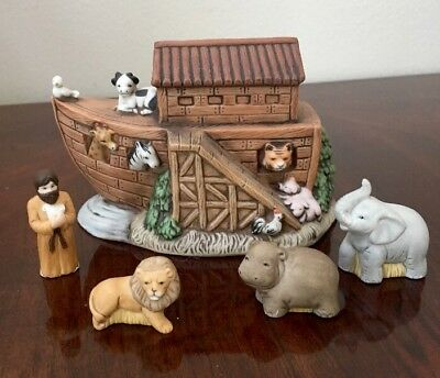 Homco Noah's Ark Porcelain Figurines Ark Noah And Animals #1474