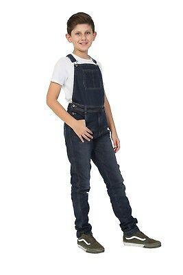 Boys Darkwash Denim Dungarees Age 4-14 Years Slim Fit Overalls