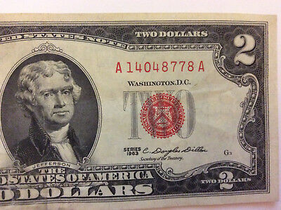"""1963 $2 Red Seal Note """"A 14048778 A"""" 2 Dollar Bill Old Money - Rare"""