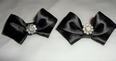 Cute set of Black Bow Shoe Clips with Rhinestones