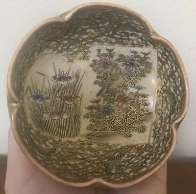 Antique Japanese Meiji Period Satsuma Scalloped Rim Signed Porcelain Bowl 4""
