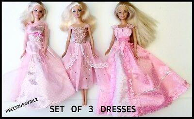 Brand new Barbie doll clothes 3 stylish pink dresses clothing evening party