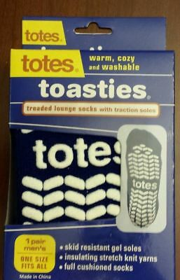Totes Toasties Men's Slipper Socks One Size * Navy (Great for Women, too!)