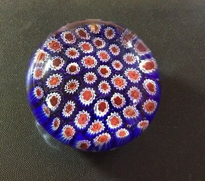 SDS Seapoot Group American Design Art Glass Millefiori Paperweight Red, Wh, Bl