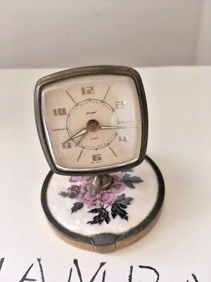 Vintage 1960s West German Jerger Vanity Small Clock on swivel stand- floral base