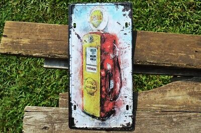 Shell Gasoline Gas Pump Tin Metal Sign - Shell Motor Oil Company - Gas Station