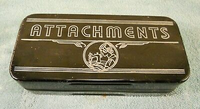 Vintage Singer Sewing Machine Treadle Attachments Parts Lot  in Tin Metal Box