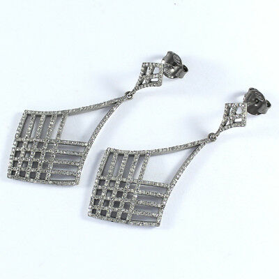 3.65ct Victorian Rose Cut Diamond Earrings 925 Sterling Silver Jewelry PQ-241