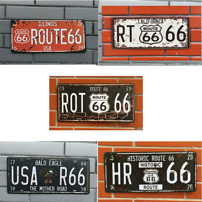 USA Route 66 Craft Retro Car Vintage License Plate Metal Wall Home Garage Decors