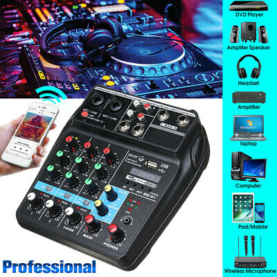 4 Channel bluetooth USB Sound Live Studio Mixer Mixing Audio console Karaoke DJ