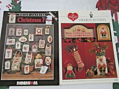 CROSS STITCH PATTERN CARDS x 2 Christmas - Dimensions & The Need'l Love Co.