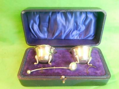 Antique charming silver cruet set with spoons salt and pepper Birmingham 1916
