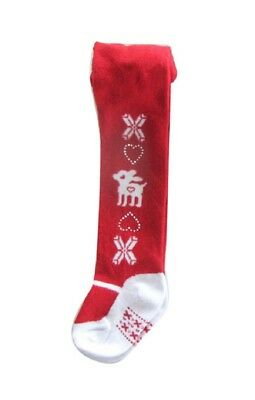 Baby Girls Christmas Tights Age 0 3 6 Months Red Reindeer Nordic Festive Xmas
